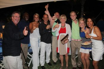 Owner of Oil Nut Bay Resort Mr David Victor Johnson (left) in the company of Mr Percy Rhoden (2nd from left) and Mr Gerard Farara (4th from left) among others at the Cocktail Reception for the Caribbean Super Yacht Regatta and Rendevous. Photo: VINO