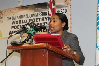 Secretary General of the BVI National Commission for UNESCO, Dr Allison Flax-Archer outlined the background of the competition at the prize giving ceremony. Photo: VINO
