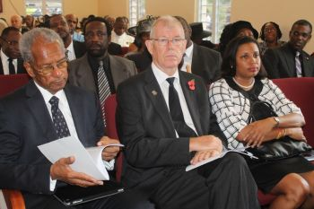 Premier and Minister of Finance Dr the Honourable D. Orlando Smith, His Excellency the Governor William Boyd McCleary and Speaker of the House of Assembly Honourable Ingrid Moses at the funeral of Mr Reeial A. George. Photo: VINO