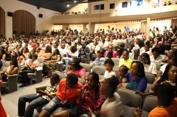A section of the Mr and Miss Junior BVI crowd at the Eileene L. Parsons Auditorium, H.L. Stoutt Community College in Paraquita Bay on Sunday July 10, 2016. Photo: VINO