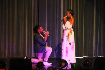 The hosts of the show, former Mrs BVI Angelle Cameron, right, and Kareem-Nelson Hull, left, did a fine job of keeping the audience entertained between items. Photo: VINO