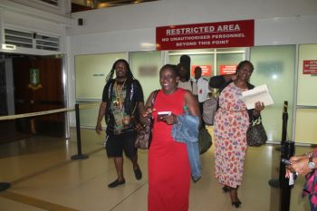 The artiste and his team received a warm welcome at the Terrance B. Lettsome International airport. Photo: VINO