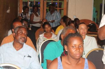 Residents of Jost Van Dyke were not shy in speaking their minds to Hon Fraser. Photo: VINO