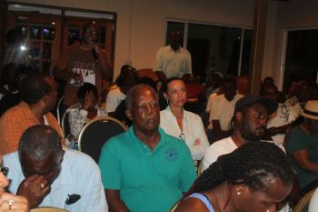"""One man described Hon Fraser as the """"Big Bull Dog"""" as he challenged Hon Fraser to show that he really cares about the people of Jost Van Dyke by having his presence felt more often. Photo: VINO"""