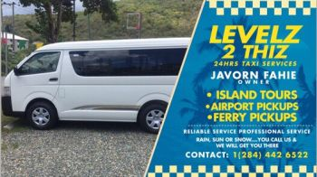 Owner, Javorn M. Fahie explains that Levelz 2 Thiz 24/hour Taxi Service is a 24/hour taxi service on the island of Tortola that provides reliable, professional and on time services. The taxi services include free WiFi for the customers. Photo: Provided
