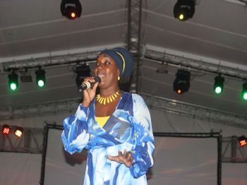 Local Calypso Queen Sistah Joyce captivated the crowd, not doing any calypso but some of her local reggae songs like 'Love Potion'. Photo: VINO