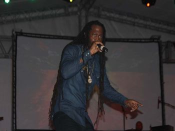 Revelation Da Royal during his performance a the Road Town festival village on Friday August 4, 2017. Photo: VINO