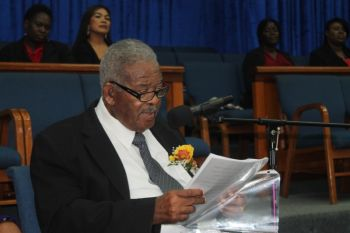 Leader of the Virgin Islands Party (VIP) Honourable Ralph T. O'Neal OBE, who was being honoured at the church service, also firmly supported the call for the churches in the VI to take a stronger role in the leadership of the Territory. Photo: VINO