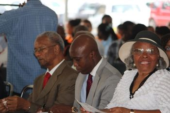 Mrs Parsons (right) looks on alongside Premier Dr The Hon. D. Orlando Smith and Hon. Myron V. Walwyn during H. Lavity Stoutt's birthday celebrations earlier this year. Photo: VINO/File