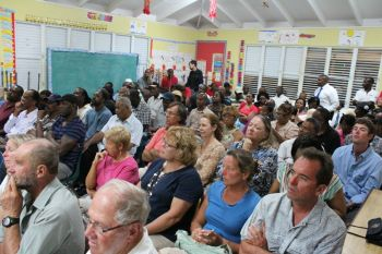 A section of the audience at the Robinson O'Neal Primary School in North Sound, Virgin Gorda on April 10, 2013. Photo: VINO