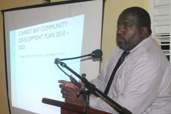 Town and Country Planning Department's Chief Planner Mr Gregory Adams revisited the Carrot Bay Community Development Project proposed by Government with residents last night November 19, 2013 at the Abraham Leonard Community Centre, Carrot Bay, Tortola, VI. Photo: VINO