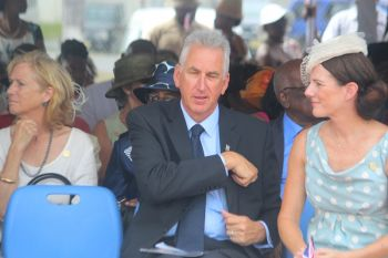 New Commissioner of Police Mr Michael 'Mick' Matthews and his wife Zoe (right) at the Queen's 90th birthday parade at Festival Grounds yesterday April 21, 2016. Photo: VINO