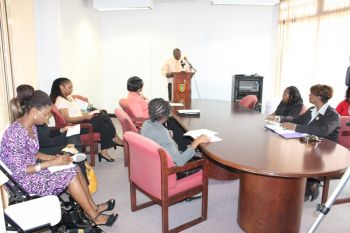 Mr Blyden making his address at the press conference on April 30, 2013 to announce the winners for the Virgin Islands 2013 Theme and Slogan Competitions. Photo: VINO