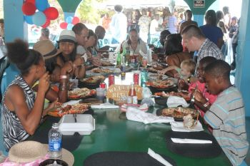 A quick survey of the eight restaurants that registered for this inaugural Anegada Lobster Festival 2013 saw Big Bamboo pulling the largest crowd as it is popularly recognized as the biggest 'lunch centre' on the sister island. Photo: VINO
