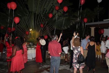 Balloons were released into the air as a sign of remembrance for the 38 who have succumbed to AIDS related illnesses in the VI and persons were asked to whisper a prayer for the deceased on releasing the balloons at Government House. Photo: VINO