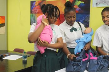 Some of the teens who participated in the Baby Think It Over simulation. Photo: VINO