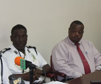 Deputy Commissioner of Police Alwyn James and Superintendent of Crime Alexis Charles. Photo: VINO