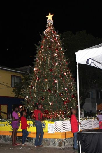 The traditional lighting of the Christmas tree at Sir Olva Georges Plaza in Road Town last evening, November 30, 2013. Photo: VINO