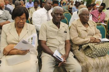 From left are participants Mrs Daisy Callwood, Mr Reginald Callwood and Mrs Delma Sprauve. Photo: VINO