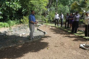 UK Overseas Territories Programme Coordinator, Mr Martin A. Hamilton gave a brief tour of some of the special features of the botanical garden and spoke of the UK's involvement. Photo: VINO