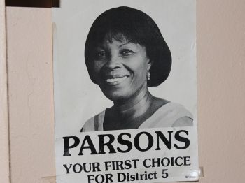 A campaign poster depicting one of Mrs Parsons early runs for office in the Fifth District. Photo: VINO