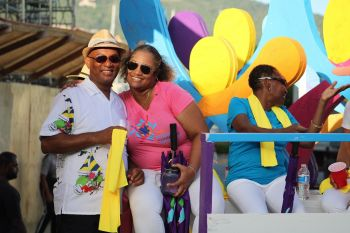 Minister for Natural Resources, Labour and Immigration, Hon Vincent O. Wheatley (R9), left, was part of the Rotary floupe. Photo: VINO