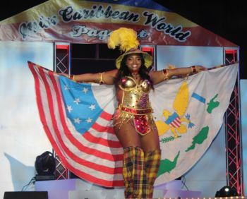 Miss United States of America – Jaielean Thomas in her costume and was described as very bold by members of the audience. Photo: VINO