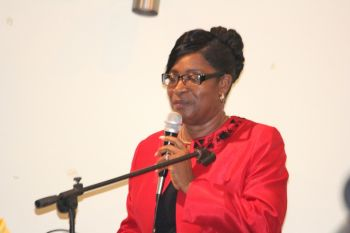 Acting Chief Education Officer, Connie E. George urged the students to avoid bad company during their high school life. Photo: VINO
