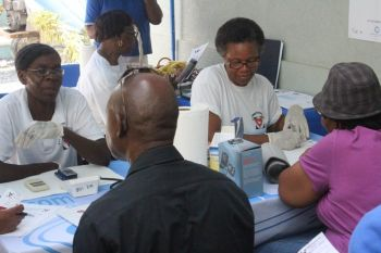 According to statistics from today's exercise as released by the BVI Diabetes Association, of the 67 persons screened, 33 were found to have high sugar levels, 26 had high cholesterol levels while 23 persons were found to have high blood pressure levels. Photo: VINO