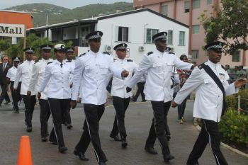 The Royal Virgin Islands Police Force (RVIPF) at the street march that heralded the start of the 20th Memorial Celebration of Honourable H. Lavity Stoutt - A Nation Builder, yesterday March 2, 2015. Photo: VINO