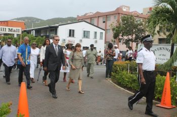 Governor John S. Duncan and wife along with Premier and Minister of Finance Dr. the Hon D. Orlando Smith and Mrs Lorna G. Smith at the street march that heralded the start of the 20th Memorial Celebration of Honourable H. Lavity Stoutt - A Nation Builder, yesterday March 2, 2015. Photo: VINO