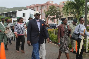 Permanent Secretary in the Deputy Governor's Office David D. Archer was one of many participants of the street march that heralded the start of the 20th Memorial Celebration of Honourable H. Lavity Stoutt - A Nation Builder, yesterday March 2, 2015. Photo: VINO