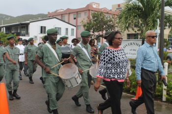 The Cadet Corp led the street march that heralded the start of the 20th Memorial Celebration of Honourable H. Lavity Stoutt - A Nation Builder, yesterday March 2, 2015. Photo: VINO