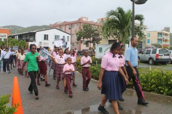 Althea Scatliffe Primary School at the street march that heralded the start of the 20th Memorial Celebration of Honourable H. Lavity Stoutt - A Nation Builder, yesterday March 2, 2015. Photo: VINO