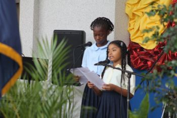 Students of the Claudia Creque Educational Centre doing a Poem written by Andria D. Flax. Photo: VINO