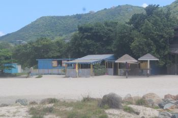 Frett-Patterson's surf board rental business at Josiah's Bay beach. Photo: VINO