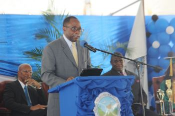 Opposition Leader and Third District Representative, Hon Julian Fraser RA gives his remarks. Photo: VINO