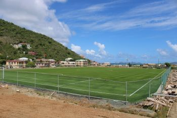 The football pitch at the FIFA-funded stadium in East End/Long Look on Tortola will be used for the National League from September or October 2019, according to the BVI Football Association. Photo: VINO