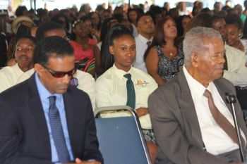 Retired legislator Hon Ralph T. O'Neal OBE (right), alongside Deputy Premier and Minister for Natural Resources and Labour Hon Kedrick D. Pickering (R7). Photo: VINO