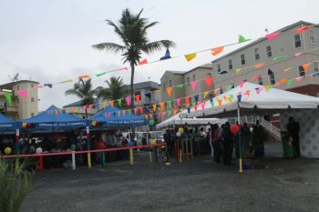 The colourful transformation of the market area for the opening yesterday afternoon. Photo: VINO