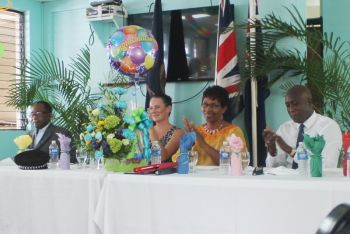 From left: Opposition Leader Hon Julian Fraser RA (R3), Zoe Matthews (wife of Police Commissioner Michael Matthews), Superintendent of Police Jacqueline E. Vanterpool and Minister for Education and Culture Hon Myron V. Walwyn. Photo: VINO