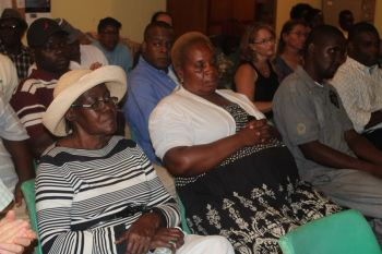 Residents of the First District were not too comfortable with the proposed development plans for Smuggler's Cove as presented to them at a community meeting at the Abraham Leonard Community Centre in Carrot Bay last evening, May 23, 2013. Photo: VINO