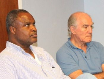 Past President of the Rotary Club of Road Town, Mr Elvis Harrigan and President-Elect Mr Charles Crane at the press conference today, June 28, 2013. The Rotary Kiddies Fiesta will be at the Queen Elizabeth II Park from 10:30 A.M. on Saturday July, 27. Photo: VINO