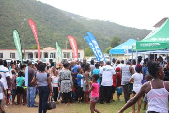 Some 400 back packs were given away as part of the Rotary Club of Road Town's Annual Kiddies Fiesta. Photo: VINO