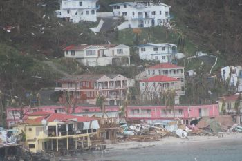 Cane Garden Bay the day after Hurricane Irma struck the Virgin Islands on September 6, 2017. Photo: VINO