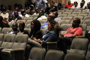 Some of the persons in attendance at the consultation meeting on the United Kingdom (UK) Loan Guarantee at the Eileene L. Parsons Auditorium, H. Lavity Stoutt Community College (HLSCC) in Paraquita Bay, Tortola, on August 21, 2019. Photo: VINO