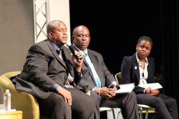 From left: Premier and Minister of Finance Honourable Andrew A. Fahie (R1), Minister for Health and Social Development Hon Carvin Malone and Junior Minister for Trade and Economic Development Hon Sharie B. de Castro at the consultation meeting on the United Kingdom (UK) Loan Guarantee at the Eileene L. Parsons Auditorium, H. Lavity Stoutt Community College (HLSCC) in Paraquita Bay, Tortola, on August 21, 2019. Photo: VINO