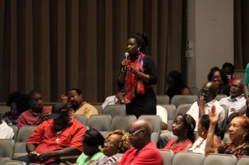A resident gives her feedback at one of the recent public consultations on the United Kingdom Loan Guarantee. Photo: VINO