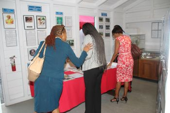 Checking out the information on horse racing in the Virgin Islands at the Sugar Works Museum in Road Town on August 17, 2016. Photo: VINO