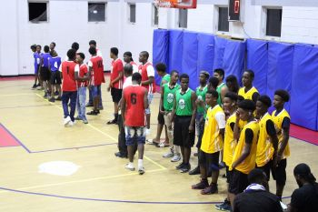 Some of the players in the Junior Division at the roll call of teams on the opening night of the Hon Julian Fraser Save the Seed League at the Save the Seed Energy Center in Duff's Bottom, Tortola, on August 24, 2019. Photo: VINO